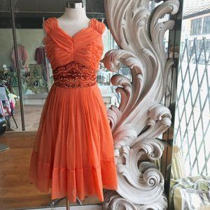 Vintage 1950s 1960s Beaded Party Dress